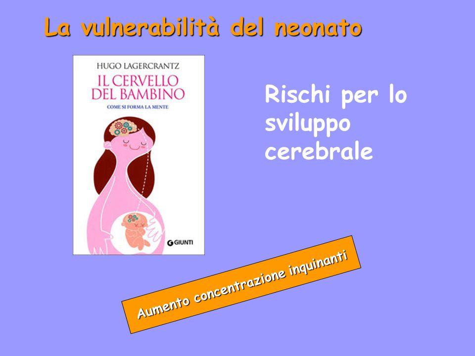 La vulnerabilità del neonato Aumento concentrazione inquinanti Rischi per lo sviluppo cerebrale