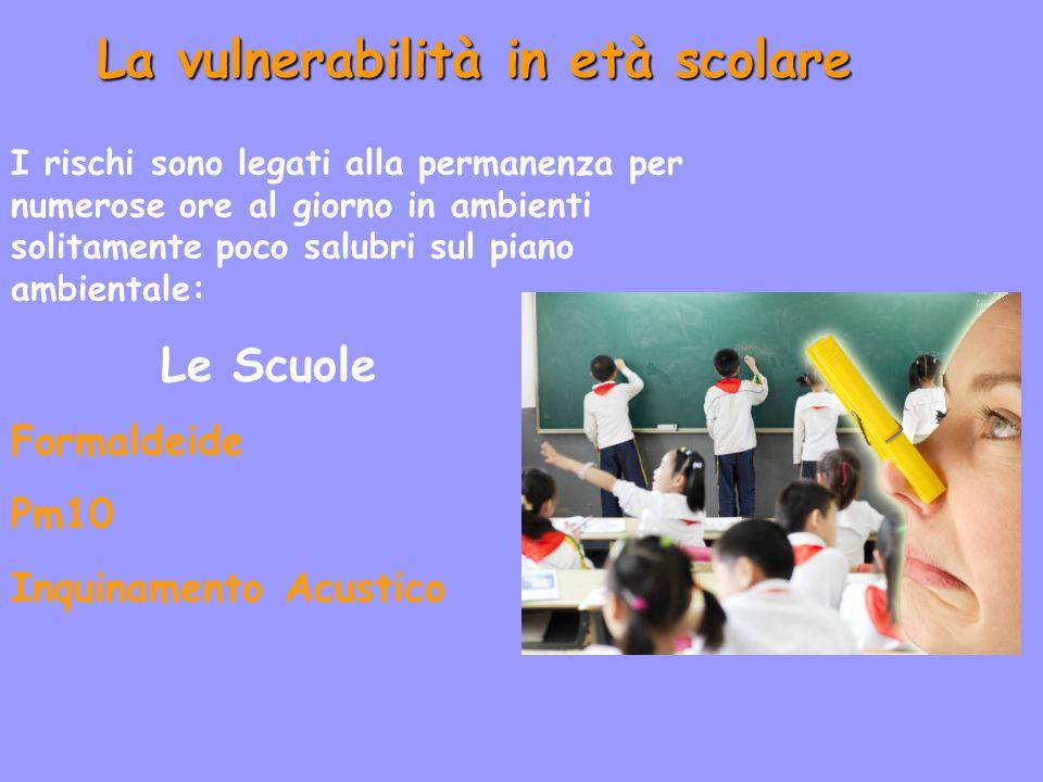 La vulnerabilità in età scolare I rischi sono legati alla permanenza per numerose ore al giorno in ambienti solitamente poco salubri sul piano ambientale: Le Scuole Formaldeide Pm10 Inquinamento Acustico
