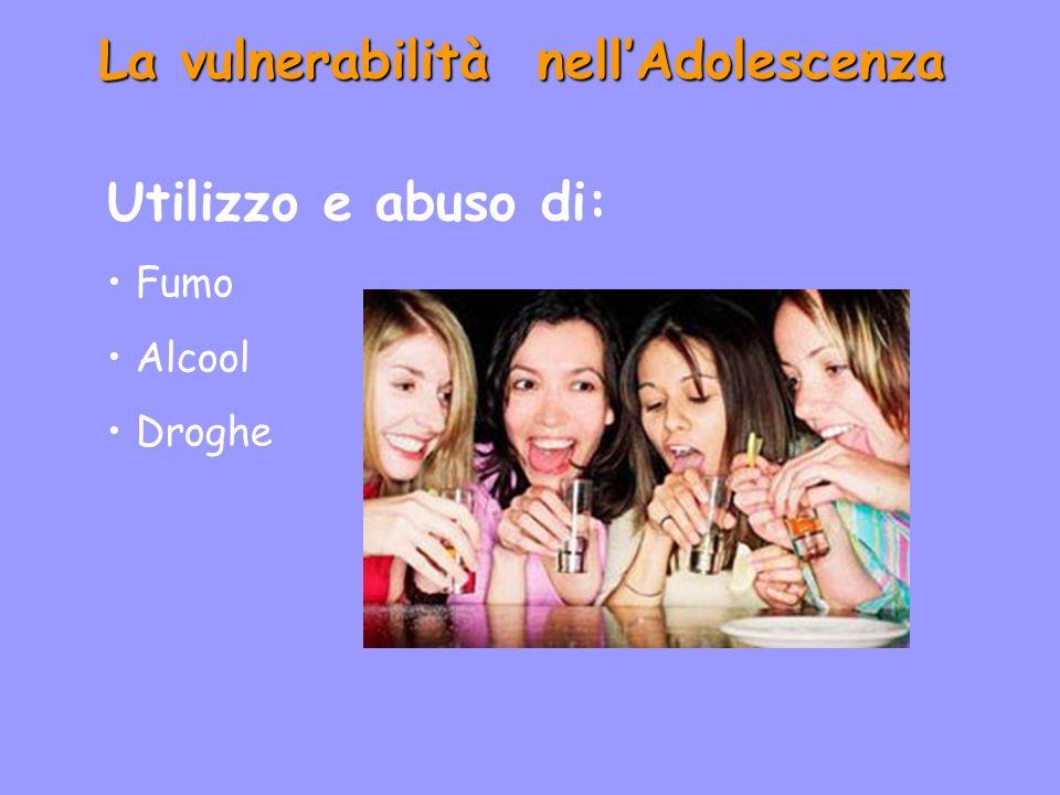 La vulnerabilità nellAdolescenza Utilizzo e abuso di: Fumo Alcool Droghe