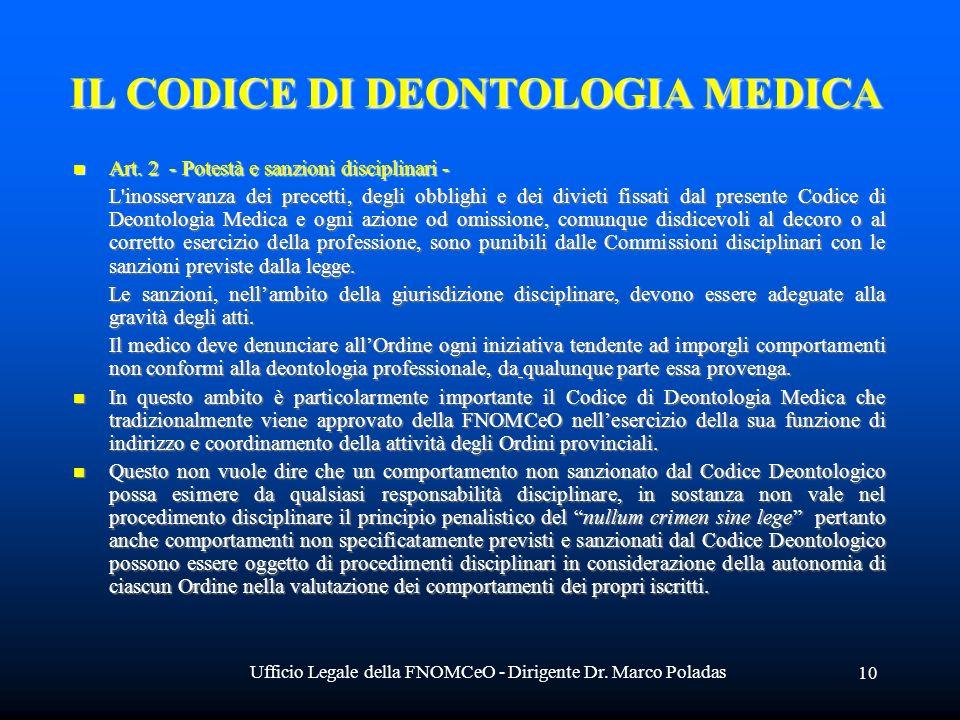 Ufficio Legale della FNOMCeO - Dirigente Dr. Marco Poladas 10 IL CODICE DI DEONTOLOGIA MEDICA Art.
