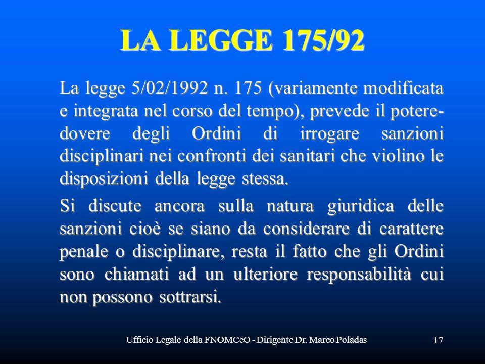 Ufficio Legale della FNOMCeO - Dirigente Dr. Marco Poladas 17 LA LEGGE 175/92 La legge 5/02/1992 n. 175 (variamente modificata e integrata nel corso d