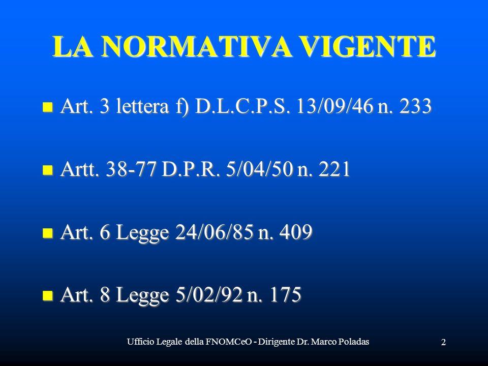 Ufficio Legale della FNOMCeO - Dirigente Dr. Marco Poladas 2 LA NORMATIVA VIGENTE Art. 3 lettera f) D.L.C.P.S. 13/09/46 n. 233 Art. 3 lettera f) D.L.C