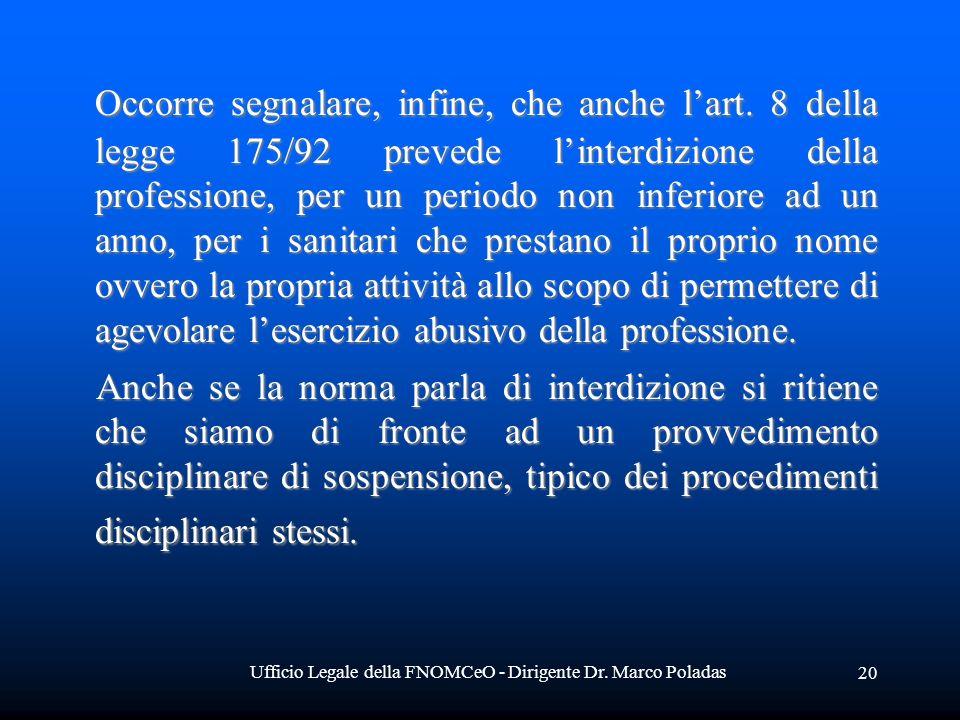 Ufficio Legale della FNOMCeO - Dirigente Dr. Marco Poladas 20 Occorre segnalare, infine, che anche lart. 8 della legge 175/92 prevede linterdizione de