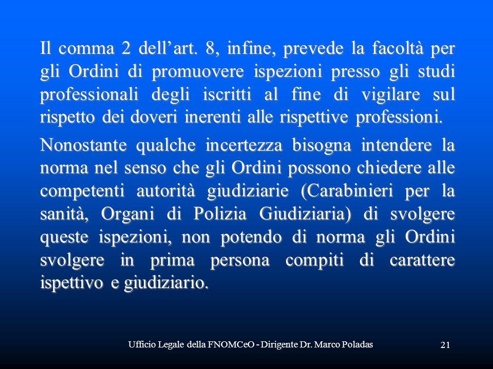 Ufficio Legale della FNOMCeO - Dirigente Dr. Marco Poladas 21 Il comma 2 dellart. 8, infine, prevede la facoltà per gli Ordini di promuovere ispezioni