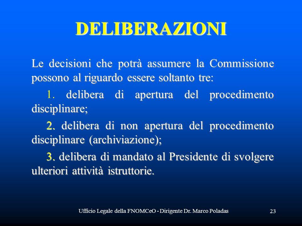 Ufficio Legale della FNOMCeO - Dirigente Dr. Marco Poladas 23 DELIBERAZIONI Le decisioni che potrà assumere la Commissione possono al riguardo essere