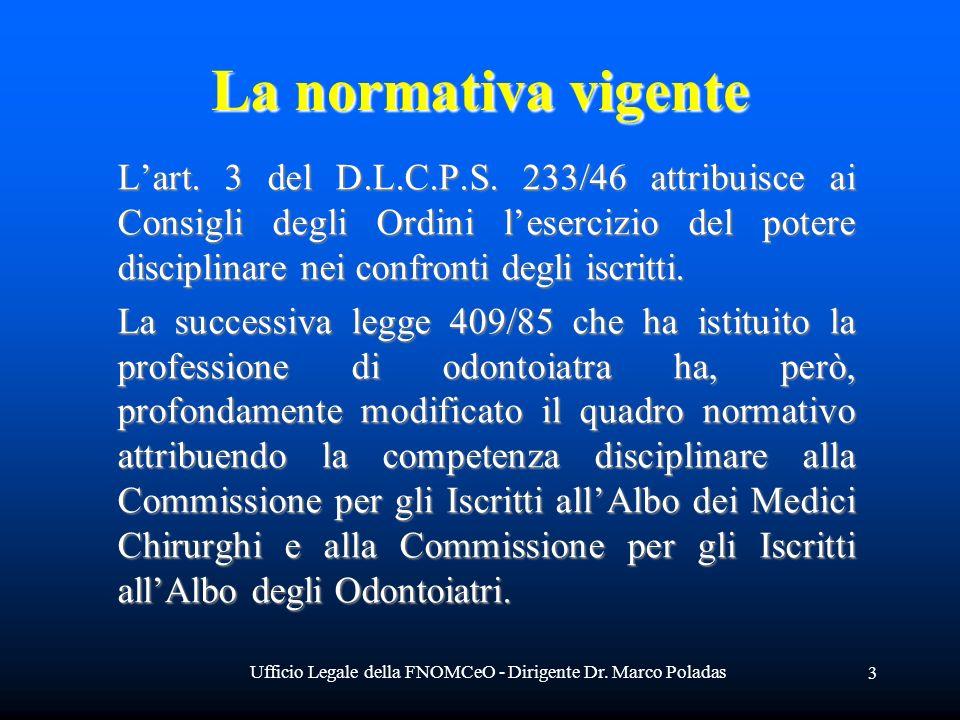 Ufficio Legale della FNOMCeO - Dirigente Dr. Marco Poladas 3 La normativa vigente Lart. 3 del D.L.C.P.S. 233/46 attribuisce ai Consigli degli Ordini l