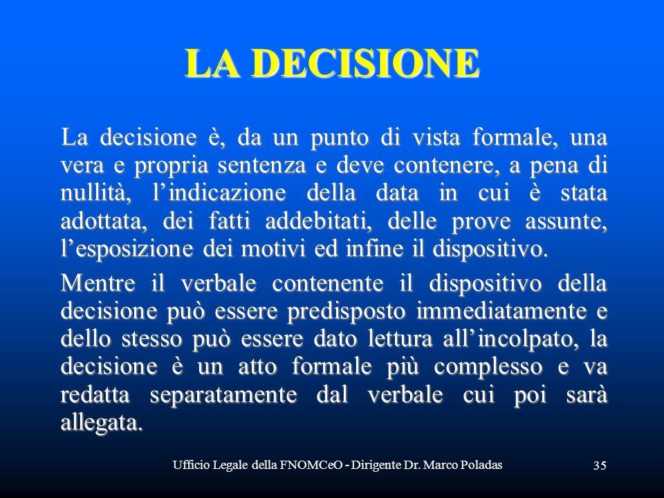 Ufficio Legale della FNOMCeO - Dirigente Dr. Marco Poladas 35 LA DECISIONE La decisione è, da un punto di vista formale, una vera e propria sentenza e