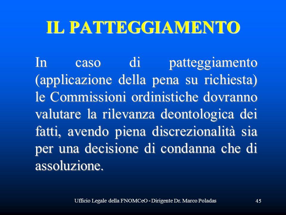 Ufficio Legale della FNOMCeO - Dirigente Dr. Marco Poladas 45 IL PATTEGGIAMENTO In caso di patteggiamento (applicazione della pena su richiesta) le Co