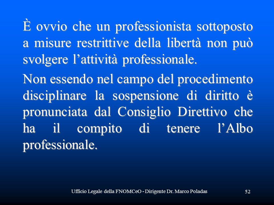 Ufficio Legale della FNOMCeO - Dirigente Dr. Marco Poladas 52 È ovvio che un professionista sottoposto a misure restrittive della libertà non può svol