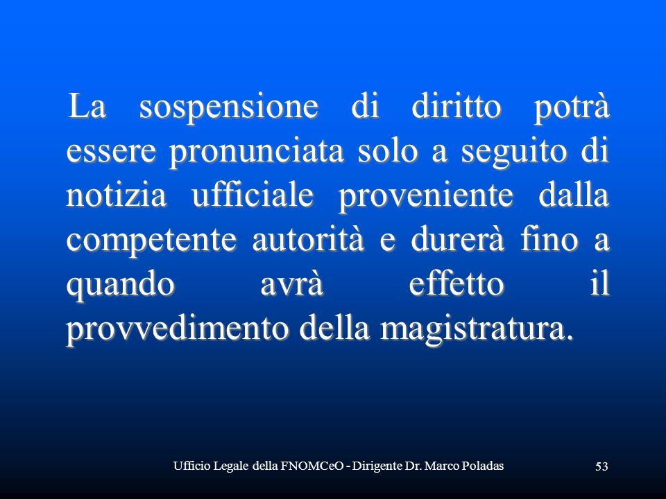 Ufficio Legale della FNOMCeO - Dirigente Dr. Marco Poladas 53 La sospensione di diritto potrà essere pronunciata solo a seguito di notizia ufficiale p