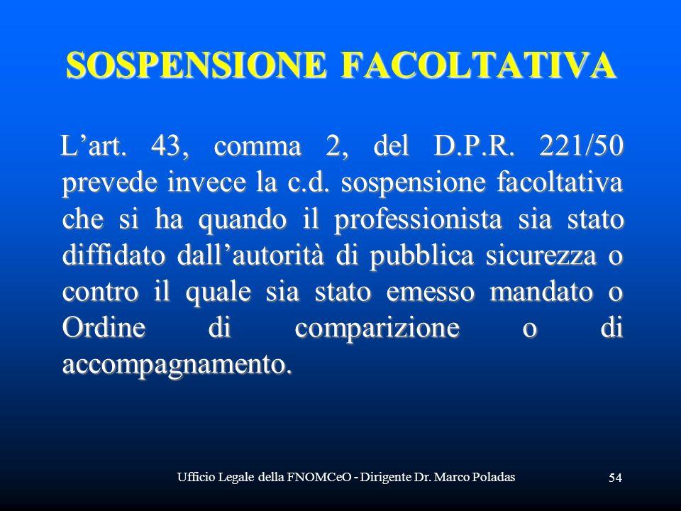 Ufficio Legale della FNOMCeO - Dirigente Dr. Marco Poladas 54 SOSPENSIONE FACOLTATIVA Lart. 43, comma 2, del D.P.R. 221/50 prevede invece la c.d. sosp