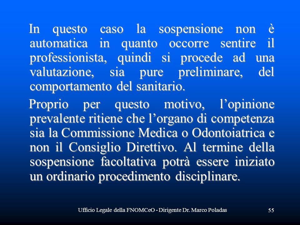 Ufficio Legale della FNOMCeO - Dirigente Dr. Marco Poladas 55 In questo caso la sospensione non è automatica in quanto occorre sentire il professionis