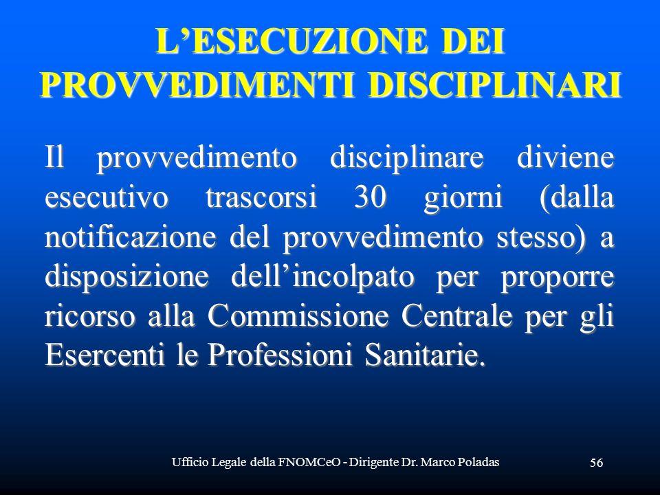 Ufficio Legale della FNOMCeO - Dirigente Dr. Marco Poladas 56 Il provvedimento disciplinare diviene esecutivo trascorsi 30 giorni (dalla notificazione