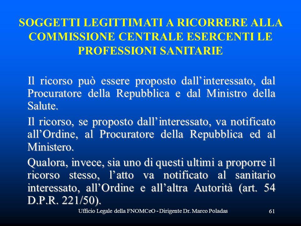 Ufficio Legale della FNOMCeO - Dirigente Dr. Marco Poladas 61 Il ricorso può essere proposto dallinteressato, dal Procuratore della Repubblica e dal M