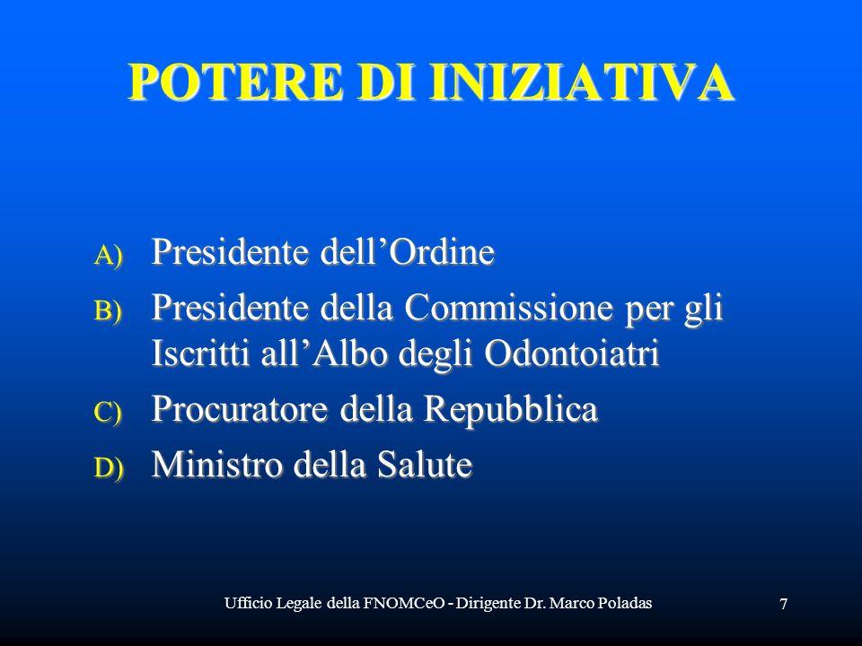 Ufficio Legale della FNOMCeO - Dirigente Dr. Marco Poladas 7 POTERE DI INIZIATIVA A) Presidente A) Presidente dellOrdine B) Presidente B) Presidente d