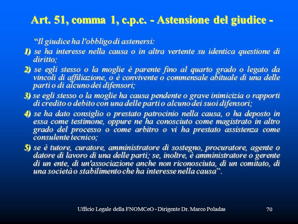 Ufficio Legale della FNOMCeO - Dirigente Dr. Marco Poladas 70 Art.