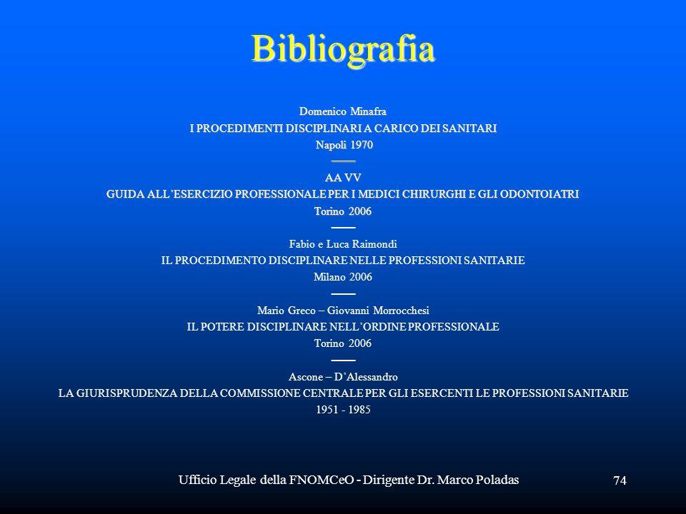 Ufficio Legale della FNOMCeO - Dirigente Dr. Marco Poladas 74Bibliografia Domenico Minafra I PROCEDIMENTI DISCIPLINARI A CARICO DEI SANITARI Napoli 19