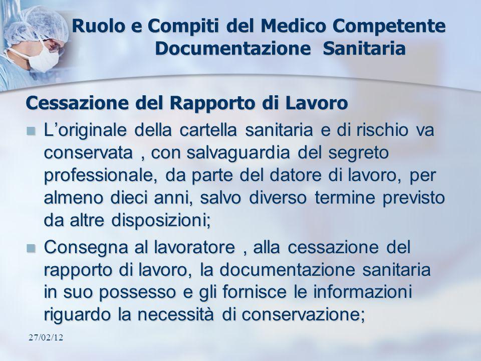 27/02/12 Ruolo e Compiti del Medico Competente Documentazione Sanitaria Cessazione del Rapporto di Lavoro Loriginale della cartella sanitaria e di ris
