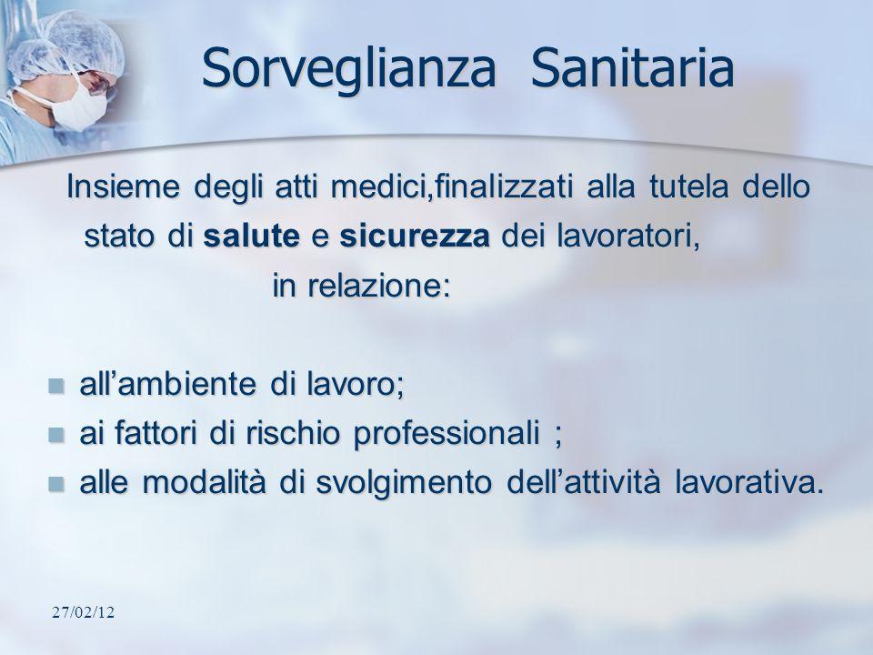 27/02/12 Sorveglianza Sanitaria Insieme degli atti medici,finalizzati alla tutela dello Insieme degli atti medici,finalizzati alla tutela dello stato
