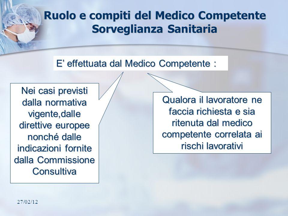 27/02/12 Ruolo e compiti del Medico Competente Sorveglianza Sanitaria E effettuata dal Medico Competente : Nei casi previsti dalla normativa vigente,d