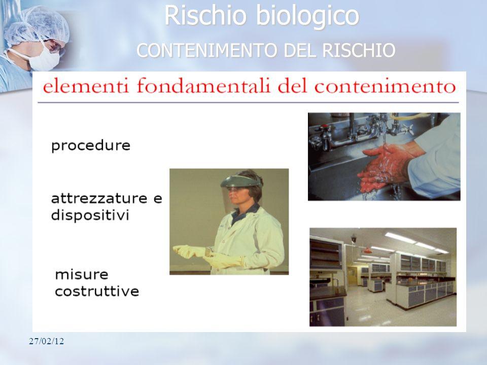 Rischio biologico CONTENIMENTO DEL RISCHIO