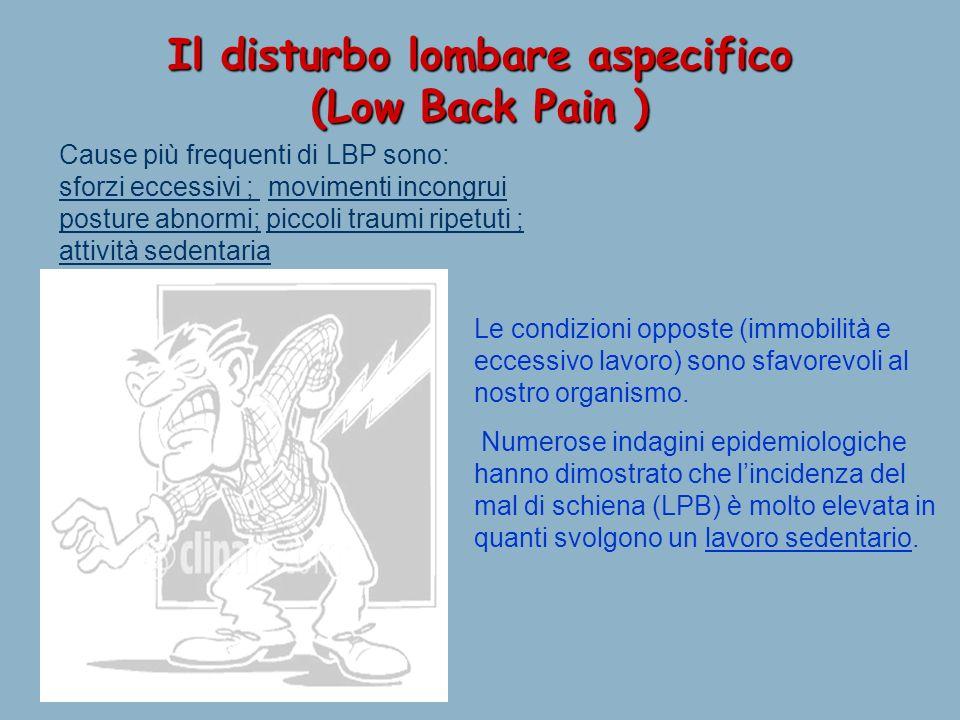 27/02/12 Il disturbo lombare aspecifico (Low Back Pain ) Cause più frequenti di LBP sono: sforzi eccessivi ; movimenti incongrui posture abnormi; picc