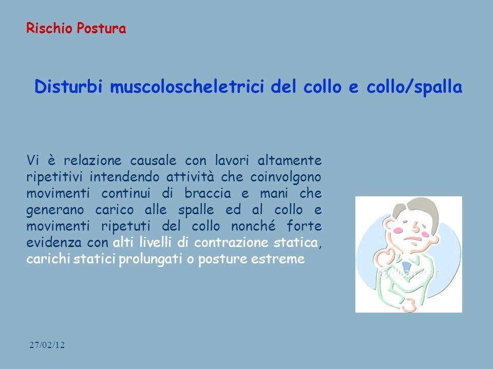 27/02/12 Disturbi muscoloscheletrici del collo e collo/spalla Vi è relazione causale con lavori altamente ripetitivi intendendo attività che coinvolgo