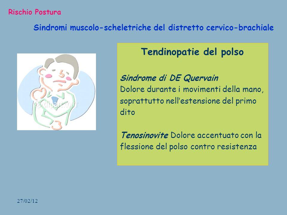 27/02/12 Sindromi muscolo-scheletriche del distretto cervico-brachiale Rischio Postura Tendinopatie del polso Sindrome di DE Quervain Dolore durante i
