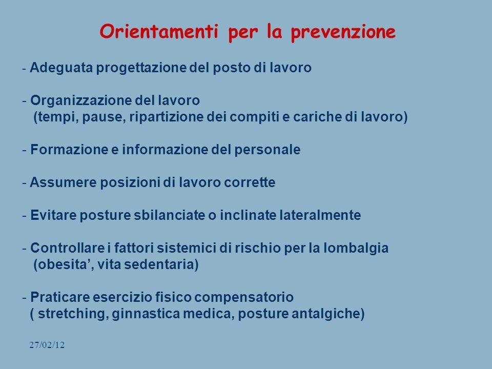 27/02/12 Orientamenti per la prevenzione - Adeguata progettazione del posto di lavoro - Organizzazione del lavoro (tempi, pause, ripartizione dei comp