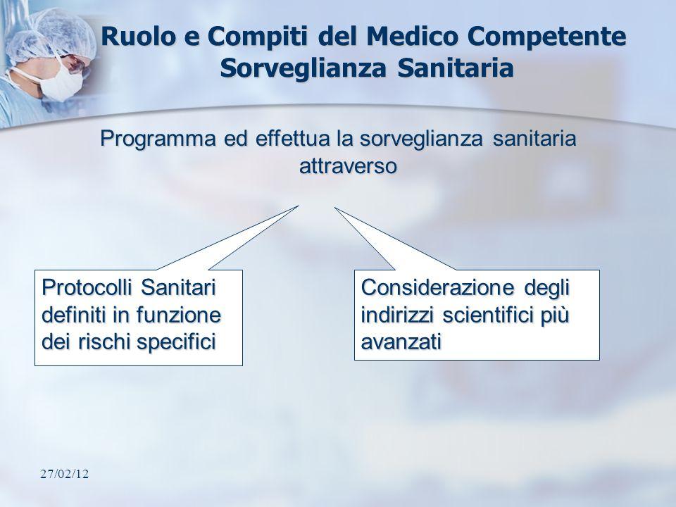 27/02/12 Ruolo e Compiti del Medico Competente Sorveglianza Sanitaria Protocolli Sanitari definiti in funzione dei rischi specifici Considerazione deg