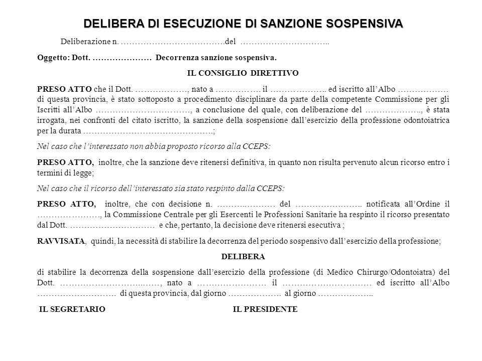 DELIBERA DI ESECUZIONE DI SANZIONE SOSPENSIVA Deliberazione n.