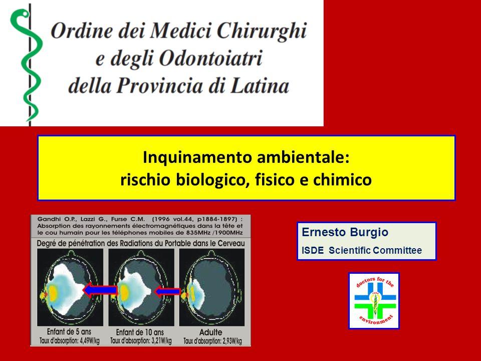 Inquinamento ambientale: rischio biologico, fisico e chimico Ernesto Burgio ISDE Scientific Committee