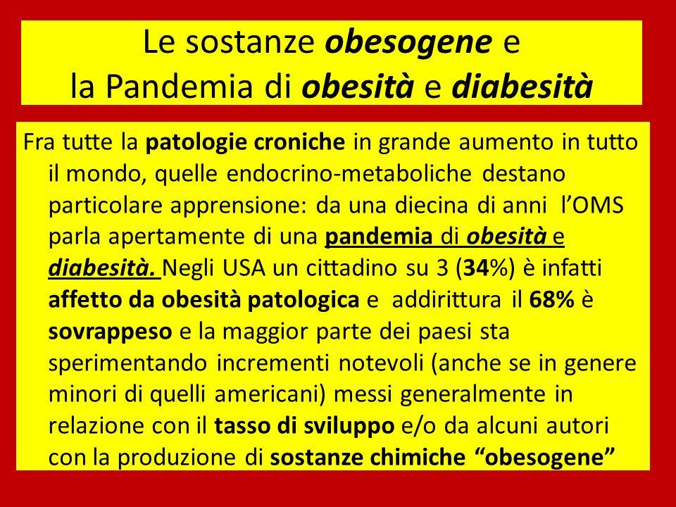 Le sostanze obesogene e la Pandemia di obesità e diabesità Fra tutte la patologie croniche in grande aumento in tutto il mondo, quelle endocrino-metaboliche destano particolare apprensione: da una diecina di anni lOMS parla apertamente di una pandemia di obesità e diabesità.