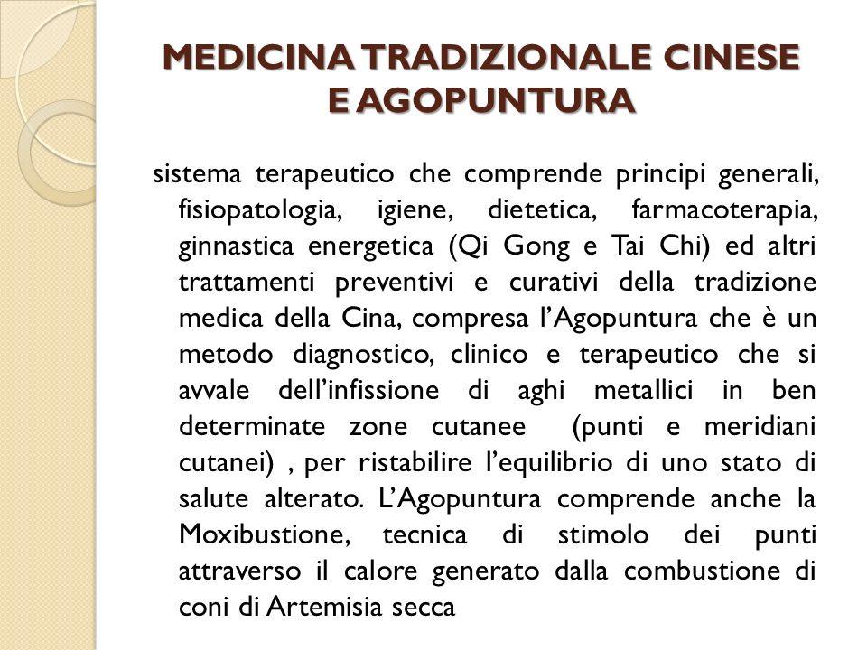 MEDICINA TRADIZIONALE CINESE E AGOPUNTURA sistema terapeutico che comprende principi generali, fisiopatologia, igiene, dietetica, farmacoterapia, ginn
