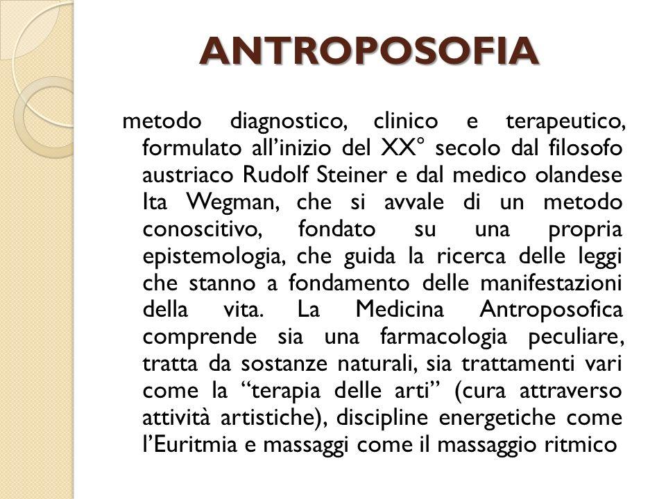 ANTROPOSOFIA metodo diagnostico, clinico e terapeutico, formulato allinizio del XX° secolo dal filosofo austriaco Rudolf Steiner e dal medico olandese