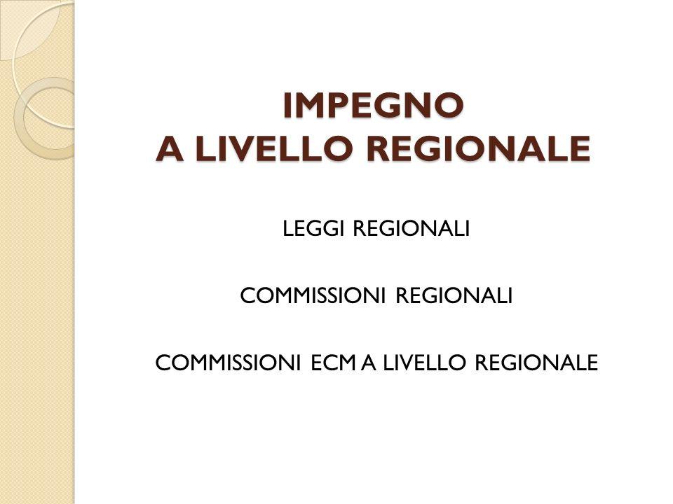 IMPEGNO A LIVELLO REGIONALE LEGGI REGIONALI COMMISSIONI REGIONALI COMMISSIONI ECM A LIVELLO REGIONALE
