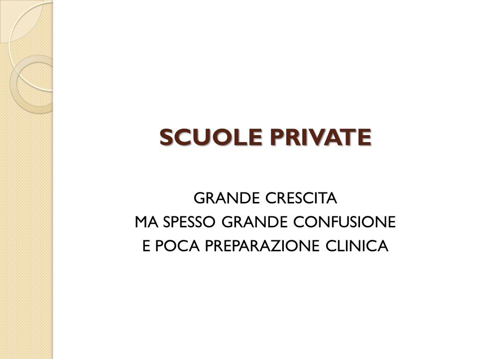 SCUOLE PRIVATE GRANDE CRESCITA MA SPESSO GRANDE CONFUSIONE E POCA PREPARAZIONE CLINICA
