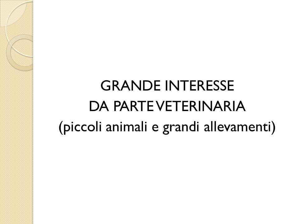 GRANDE INTERESSE DA PARTE VETERINARIA (piccoli animali e grandi allevamenti)
