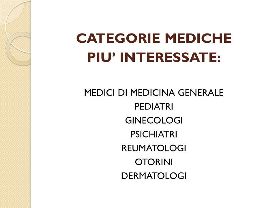 CATEGORIE MEDICHE PIU INTERESSATE: MEDICI DI MEDICINA GENERALE PEDIATRI GINECOLOGI PSICHIATRI REUMATOLOGI OTORINI DERMATOLOGI