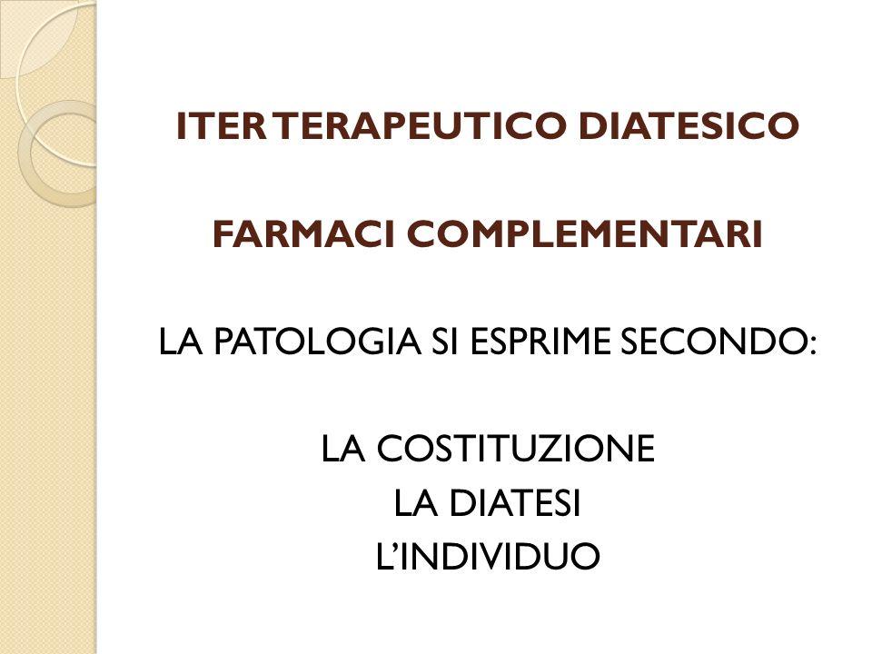 ITER TERAPEUTICO DIATESICO FARMACI COMPLEMENTARI LA PATOLOGIA SI ESPRIME SECONDO: LA COSTITUZIONE LA DIATESI LINDIVIDUO