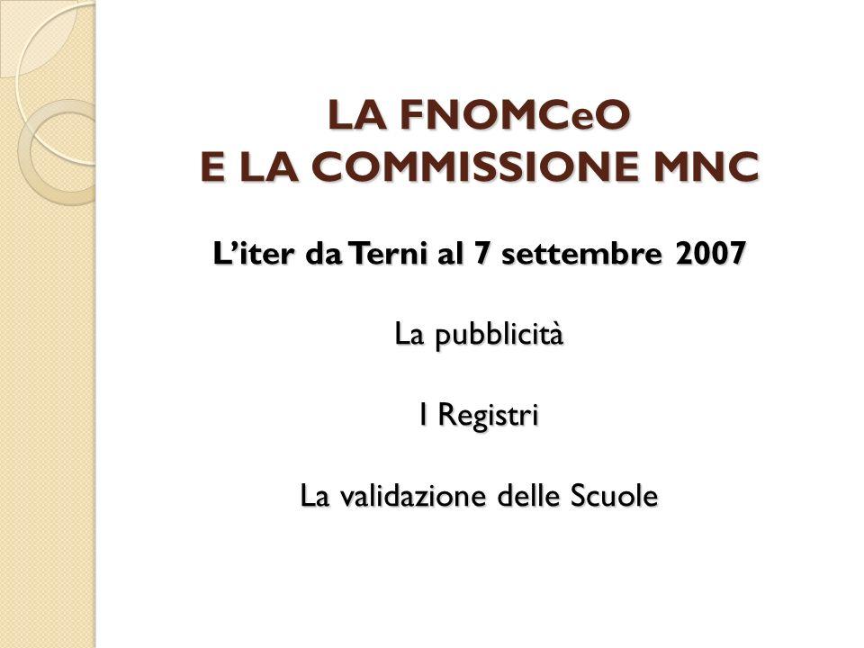 LA FNOMCeO E LA COMMISSIONE MNC Liter da Terni al 7 settembre 2007 La pubblicità I Registri La validazione delle Scuole