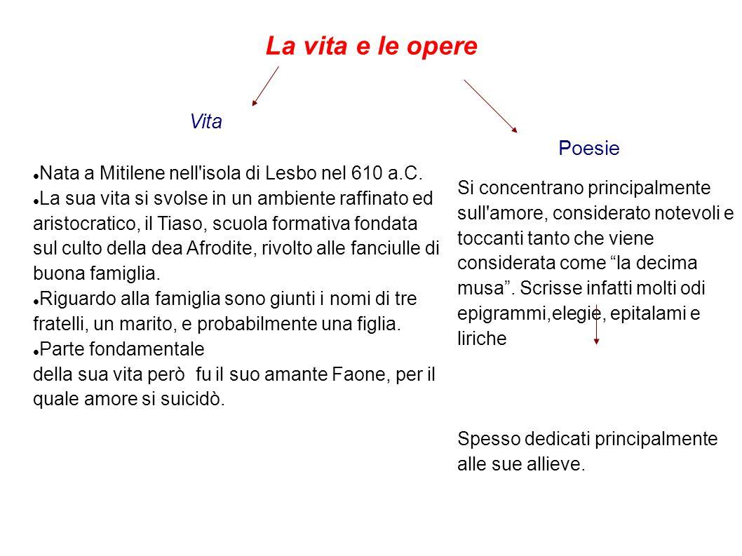 La vita e le opere Nata a Mitilene nell isola di Lesbo nel 610 a.C.
