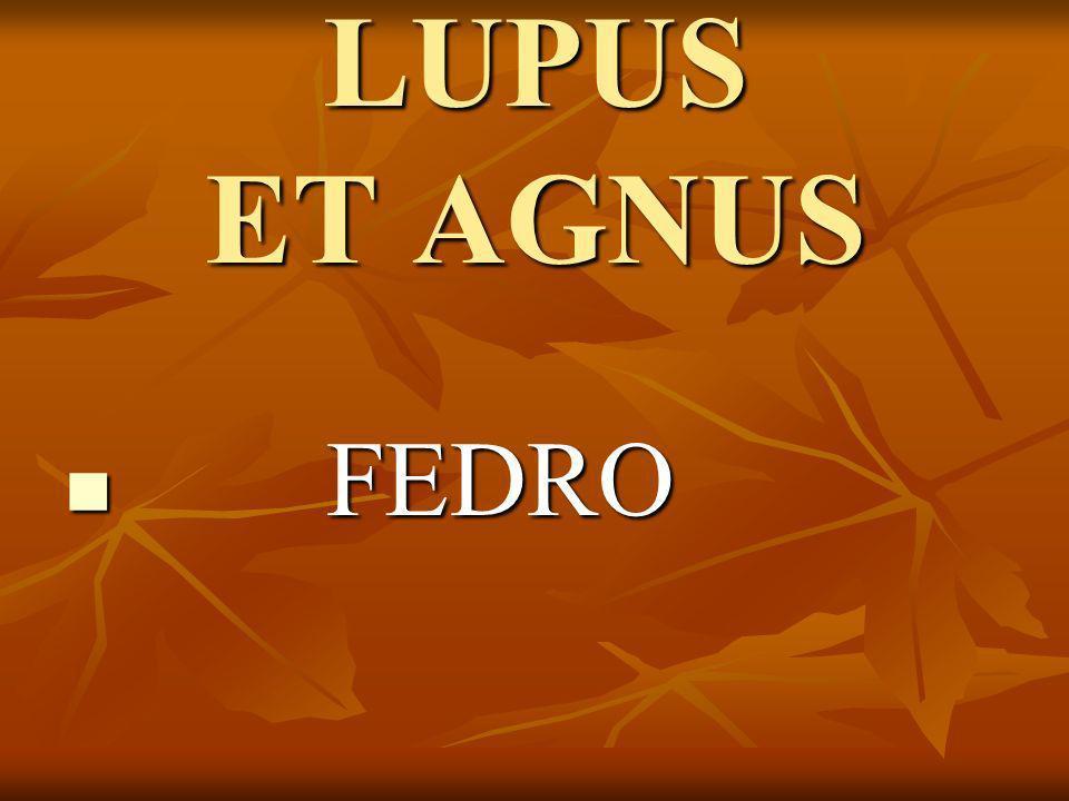 Ad rivum eundem Lupus et Agnus venerant siti compulsi: superior stabat Lupus, longeque inferior Agnus: tunc fauce improba latro incitatus jurgii causam intulit.