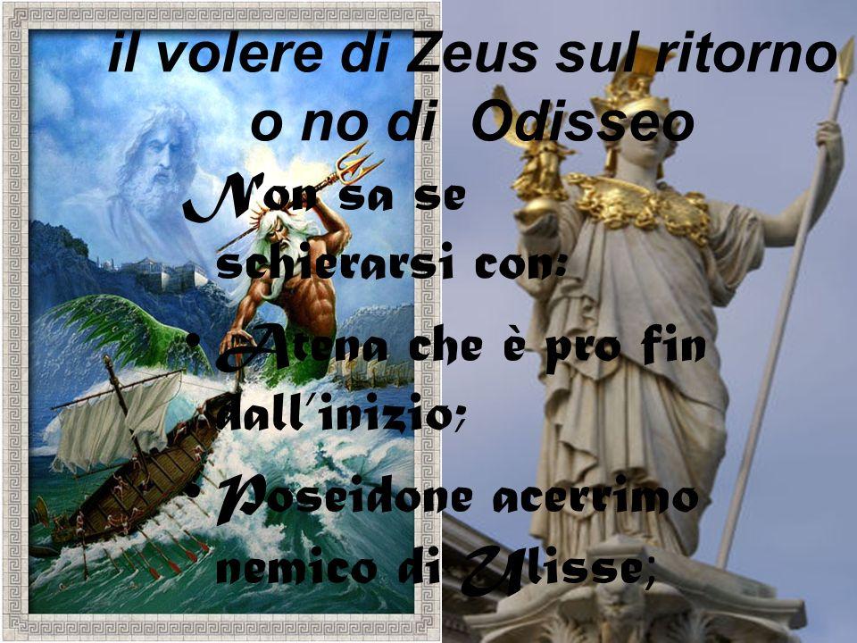 il volere di Zeus sul ritorno o no di Odisseo Non sa se schierarsi con: Atena che è pro fin dallinizio; Poseidone acerrimo nemico di Ulisse ;