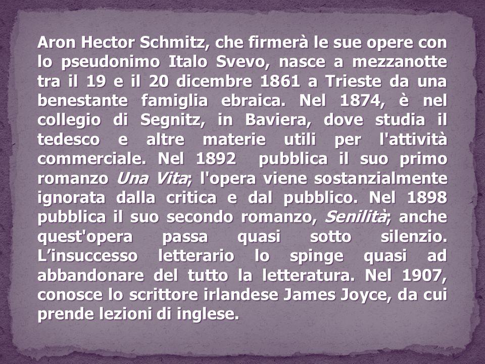 Aron Hector Schmitz, che firmerà le sue opere con lo pseudonimo Italo Svevo,nasce a mezzanotte tra il 19 e il 20 dicembre 1861 a Trieste da una benest