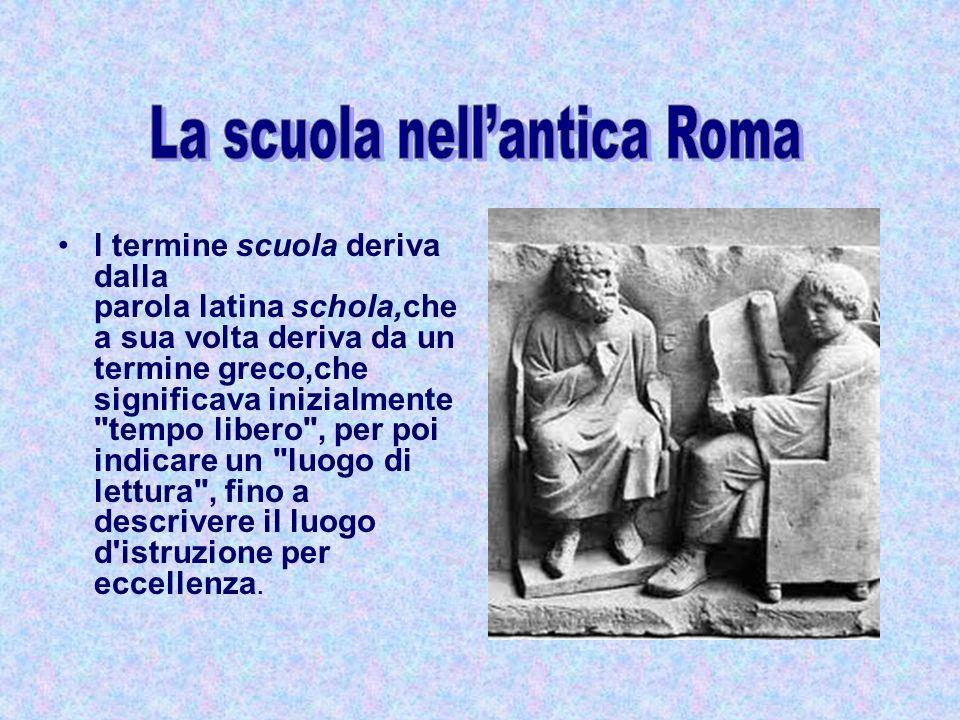 l termine scuola deriva dalla parola latina schola,che a sua volta deriva da un termine greco,che significava inizialmente