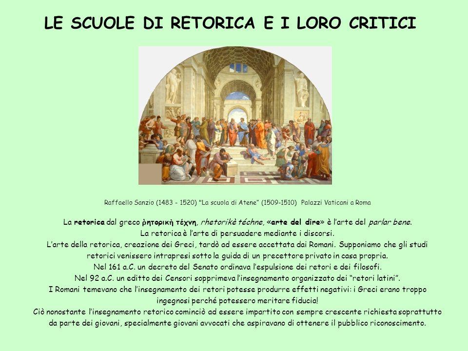 LE SCUOLE DI RETORICA E I LORO CRITICI Raffaello Sanzio (1483 - 1520)