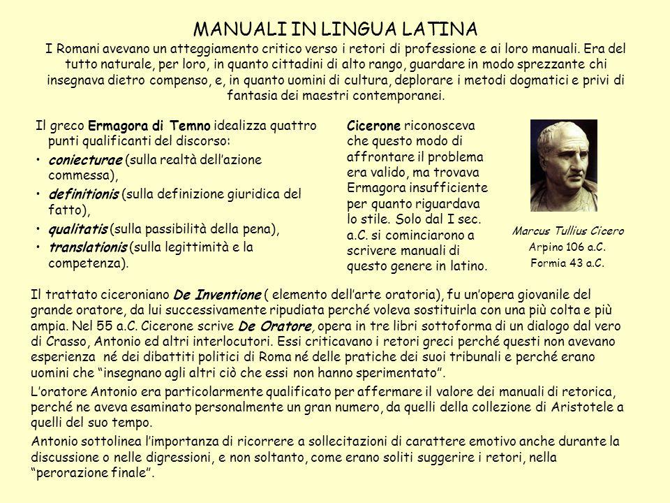 MANUALI IN LINGUA LATINA I Romani avevano un atteggiamento critico verso i retori di professione e ai loro manuali. Era del tutto naturale, per loro,