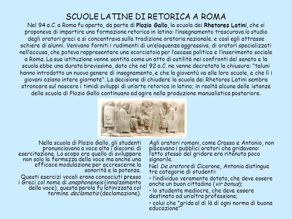 SCUOLE LATINE DI RETORICA A ROMA Nel 94 a.C. a Roma fu aperta, da parte di Plozio Gallo, la scuola dei Rhetores Latini, che si proponeva di impartire