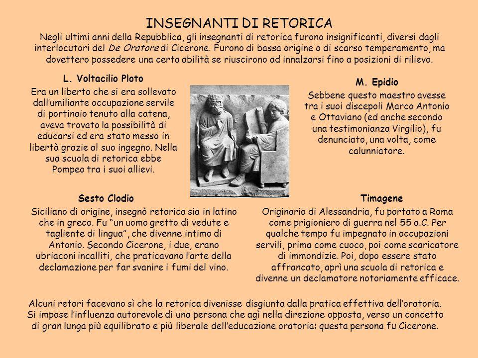 INSEGNANTI DI RETORICA Negli ultimi anni della Repubblica, gli insegnanti di retorica furono insignificanti, diversi dagli interlocutori del De Orator